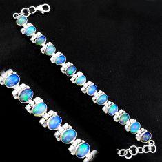 20.21cts natural multi color ethiopian opal 925 silver tennis bracelet p96466