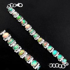 20.54cts natural multi color ethiopian opal 925 silver tennis bracelet p96467