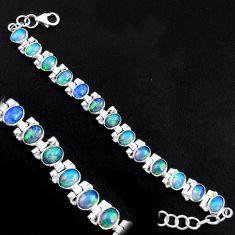20.22cts natural multi color ethiopian opal 925 silver tennis bracelet p96468