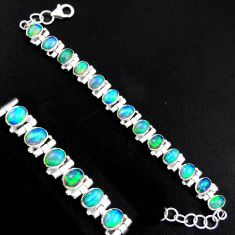 925 silver 20.21cts natural multi color ethiopian opal tennis bracelet p96469