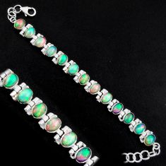 20.22cts natural multi color ethiopian opal 925 silver tennis bracelet p96470