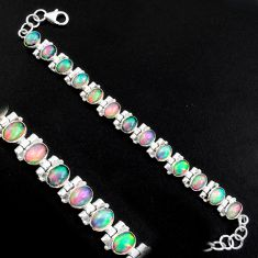 925 silver 21.39cts natural multi color ethiopian opal tennis bracelet p96472