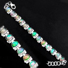 20.22cts natural multi color ethiopian opal 925 silver tennis bracelet p96473
