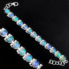 20.21cts natural multi color ethiopian opal 925 silver tennis bracelet p96474