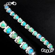 925 silver 20.23cts natural multi color ethiopian opal tennis bracelet p96475