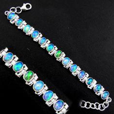 20.84cts natural multi color ethiopian opal 925 silver tennis bracelet p96476