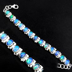 925 silver 21.72cts natural multi color ethiopian opal tennis bracelet p96477