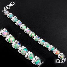20.54cts natural multi color ethiopian opal 925 silver tennis bracelet p96478