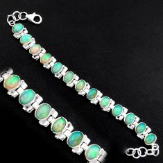 20.21cts natural multi color ethiopian opal 925 silver tennis bracelet p96479