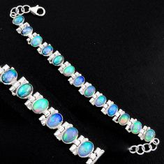 925 silver 21.38cts natural multi color ethiopian opal tennis bracelet p96480