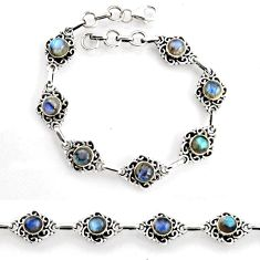 8.42cts tennis natural blue labradorite 925 sterling silver bracelet p96843