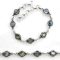 925 sterling silver 7.71cts tennis natural blue labradorite bracelet p96844