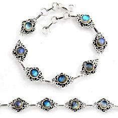 925 sterling silver 8.41cts tennis natural blue labradorite bracelet p96846