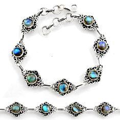8.41cts tennis natural blue labradorite 925 sterling silver bracelet p96847