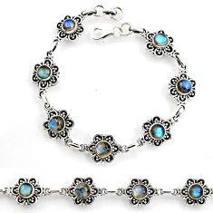 9.41cts tennis natural blue labradorite 925 sterling silver bracelet p96850