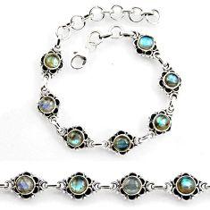 8.82cts tennis natural blue labradorite 925 sterling silver bracelet p96851