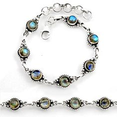 8.71cts tennis natural blue labradorite 925 sterling silver bracelet p96852