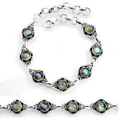 925 sterling silver 8.99cts tennis natural blue labradorite bracelet p96853