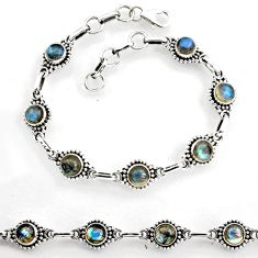 9.18cts natural blue labradorite 925 sterling silver tennis bracelet p96857