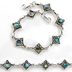 8.29cts tennis natural blue labradorite 925 sterling silver bracelet p96860