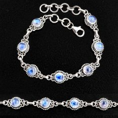 8.38cts natural rainbow moonstone 925 sterling silver tennis bracelet p96862