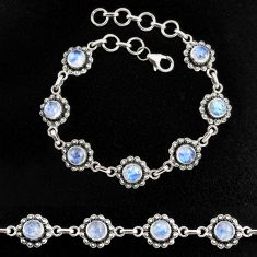 925 sterling silver 9.81cts natural rainbow moonstone tennis bracelet p96864