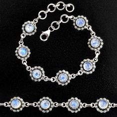 9.81cts natural rainbow moonstone 925 sterling silver tennis bracelet p96865
