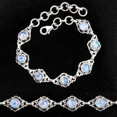 8.82cts natural rainbow moonstone 925 sterling silver tennis bracelet p96867