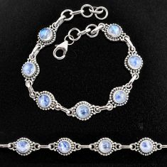 925 sterling silver 8.82cts natural rainbow moonstone tennis bracelet p96868