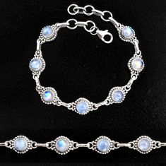 9.01cts natural rainbow moonstone 925 sterling silver tennis bracelet p96869