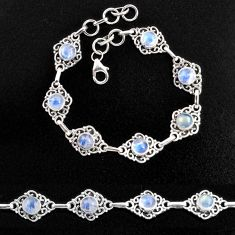 9.51cts natural rainbow moonstone 925 sterling silver tennis bracelet p96870