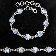 925 sterling silver 9.80cts natural rainbow moonstone tennis bracelet p96871