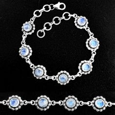9.81cts natural rainbow moonstone 925 sterling silver tennis bracelet p96873