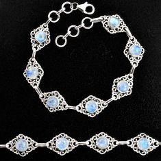925 sterling silver 9.35cts natural rainbow moonstone tennis bracelet p96874