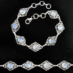 9.18cts natural rainbow moonstone 925 sterling silver tennis bracelet p96875