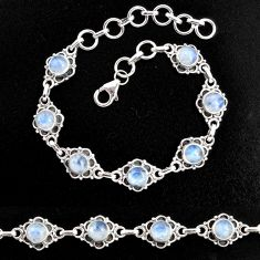 9.78cts natural rainbow moonstone 925 sterling silver tennis bracelet p96876
