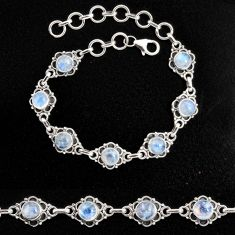 925 sterling silver 9.37cts natural rainbow moonstone tennis bracelet p96878
