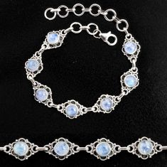 8.71cts natural rainbow moonstone 925 sterling silver tennis bracelet p96879