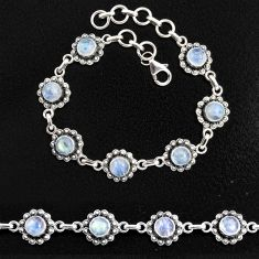 9.98cts natural rainbow moonstone 925 sterling silver tennis bracelet p96880