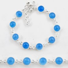 25.26cts tennis natural aqua chalcedony 925 sterling silver bracelet p96881