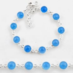 25.26cts tennis natural aqua chalcedony 925 sterling silver bracelet p96882