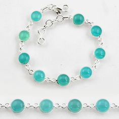 24.89cts tennis natural aqua chalcedony 925 sterling silver bracelet p96886