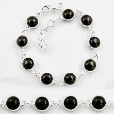 925 sterling silver 24.89cts tennis natural black onyx round bracelet p96887
