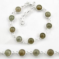 24.70cts tennis natural grey moonstone 925 sterling silver bracelet p96889