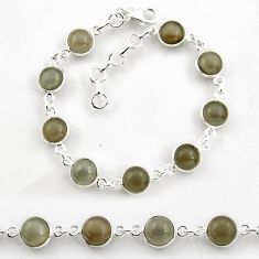 925 sterling silver 24.89cts tennis natural grey moonstone round bracelet p96890