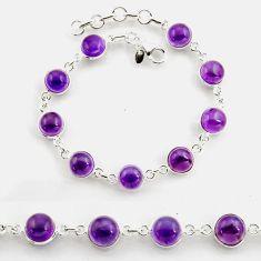 27.13cts tennis natural purple amethyst 925 sterling silver bracelet p96892