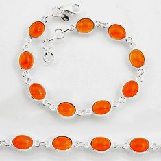 24.33cts tennis natural orange cornelian (carnelian) 925 silver bracelet p96894