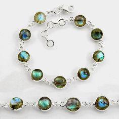 925 sterling silver 26.54cts tennis natural blue labradorite bracelet p96896