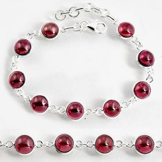 27.13cts natural red garnet 925 sterling silver tennis bracelet jewelry p96902