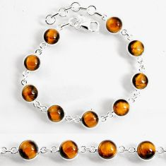 24.89cts natural brown tiger's eye 925 sterling silver tennis bracelet p96905